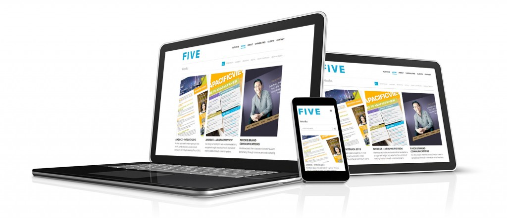 Responsive Web Design - FIVE website viewed in laptop, iPad and iPhone on white background